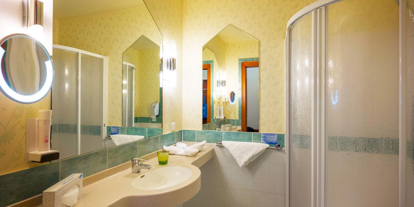 Badezimmer mit Dusche im Wohlfühl Doppelzimmer